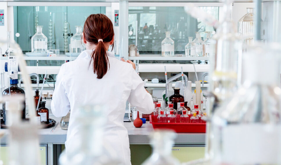 Lab worker conducting tests at a lab